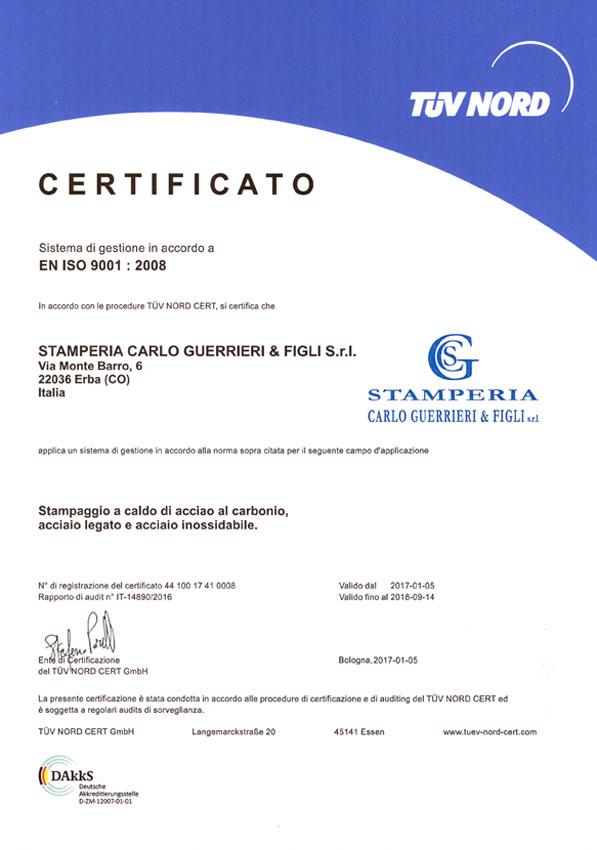 Certificato Iso 9001 2008 Stamperia Guerrieri   Italiano